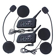 2stk 1200m vandtæt motorcykel hjelm samtaleanlæg bluetooth intercom headset v6 intercom intercomunicador moto interfones hjelm headset