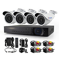 YanSe® 4CH 1200TVL Wired CCTV Camera DVR Kits IR Waterproof Security Cameras System 720P AHD-M