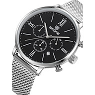 Men's Fashion Watch Calendar Water Resistant / Water Proof Quartz Stainless Steel Band Luxury Silver