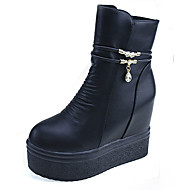 Women's Boots Fall Winter PU Casual Wedge Heel Zipper Black