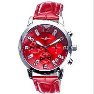 Women's Sport Watch Fashion Watch Calendar Chronograph Noctilucent Quartz Leather Band White Red
