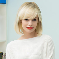 Inclined Bang Silky Straight Bob Short Human Hair  Ombre Wig