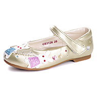 שטוחות-דמוי עור-נוחות נעלי ילדת הפרח להאיר נעליים-זהב כסף-חתונה שמלה יומיומי מסיבה וערב-עקב שטוח