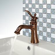 Antik Mittellage Breite spary with  Keramisches Ventil Einhand Ein Loch for  Rotgold , Waschbecken Wasserhahn