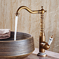 Bathroom Faucet Hot And Cold Heightening Counter Basin Faucet Retro Copper Rotatable