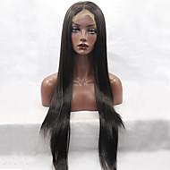Mulher Perucas sintéticas Frente de Malha Longo Liso Preto Riscas Naturais Repartida ao Meio Peruca Natural Peruca de Halloween Peruca de