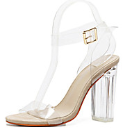 Women's Sandals Transparent Spring Summer Fall Comfort Novelty Rubber Outdoor Party & Evening Dress Chunky Heel Buckle Crystal Heel Almond Walking