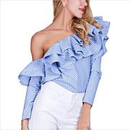 Dames Sexy Overhemd,Nette schoenen Feestje/cocktail Club Gestreept Schouderafhangend Lange mouw Blauw Katoen