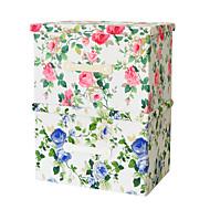 raylinedo® 2 stk gammeldags klassisk blomstermønster (en blå blomst en rød blomst) 26L simulert fôr stoff sammenleggbar oppbevaringsbokser