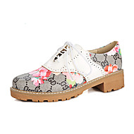 Women's Oxfords Spring Summer Fall Winter Gladiator Comfort Ankle Strap Leatherette Outdoor Dress Casual Chunky HeelSplit Joint Lace-up