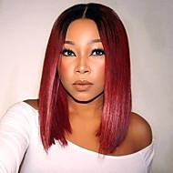 ombre T1B / rød farge syntetisk kort bob blonder foran parykk rett hår varmeresistent syntetisk fiber hår parykker