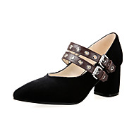 Women's Heels Spring Summer Fall Other Velvet Office & Career Party & Evening Dress Casual Chunky Heel Buckle Black Burgundy Other