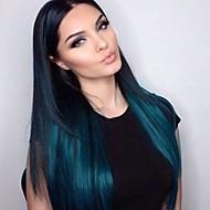 Naisten Aitohiusperuukit verkolla Aidot hiukset Lace Front Liimaton puoliverkko 130% Tiheys Suora Peruukki Musta / Sininen Lyhyt