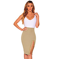 Women's Khaki Gold Chain Slit Skirt