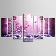 Canvas Set Landschap Bloemenmotief/Botanisch Klassiek Europese Stijl,Vijf panelen Canvas Elke vorm Print Art Muurdecoratie For