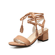 Women's Sandals Spring Summer Fall Gladiator Fleece Office & Career Dress Casual Chunky Heel Lace-up Black Yellow Beige