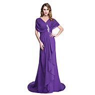 2017 Lanting Bride® A-line Mother of the Bride Dress - Open Back Court Train Short Sleeve Chiffon with Beading Ruffles Pleats