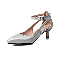 Women's Heels Spring Summer Leatherette Casual Kitten Heel Beige Gray Sliver Red