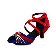 Customizable Women's Dance Shoes Satin Satin Latin Modern Sandals Chunky Heel Practice Black Blue Green Gray
