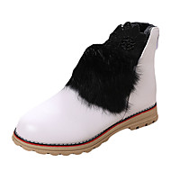 Girl's Boots Winter Comfort Synthetic Casual Flat Heel Ruched Black Red White Walking