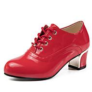 Damen-Loafers & Slip-Ons-Büro Kleid-PU-Blockabsatz-Leuchtende Sohlen-Schwarz Braun Rot