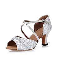 Women's Dance Shoes Satin Satin Latin Heels Chunky Heel Indoor Silver CL16
