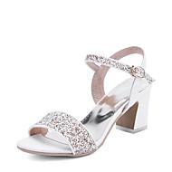 Feminino-Sandálias-D'Orsay Sapatos clube-Salto Grosso-Branco Azul Rosa claro-Courino-Casamento Social Festas & Noite