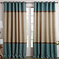 Two Panels Curtain Mediterranean , Solid Living Room Polyester Material Curtains Drapes Home Decoration For Window