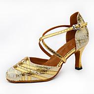 Sapatos de Dança(Preto Prateado Dourado) -Feminino-Personalizável-Latina