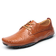Men's Oxfords Spring Summer Fall Winter Comfort Leather Outdoor Office & Career Athletic Flat Heel Lace-up Black Light Brown