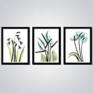 Afdrukken Op Opgespannen Doek Abstract Bloemenmotief/Botanisch Modern,Drie panelen Canvas Horizontaal Print Art Muurdecoratie For