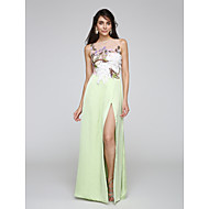2017 TS Couture® Prom Formal Evening Dress Sheath / Column Bateau Floor-length Tulle / Satin Chiffon with Appliques / Split Front
