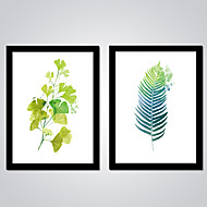 Modern Wall Art Green Leaves Canvas Print 2pcs/set for Bedroom Decoration Ready to Hang