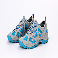 Women's Athletic Shoes Spring Summer Comfort Leather Tulle Microfibre Outdoor Athletic Low Heel Lace-up Split Joint Light Grey Light Blue