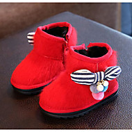 Girl's Boots Comfort Leather Outdoor Casual Athletic Black Red Gray Peach Running