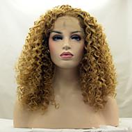 odporna na ciepło koronki przodu peruka syntetyczna perwersyjne kręcone włosy blond kolor koronki 27 # włókien syntetycznych włosów peruki