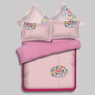 Novelty Duvet Cover Sets 4 Piece Polyester Pattern Reactive Print Polyester Queen 1pc Duvet Cover 2pcs Shams 1pc Flat Sheet