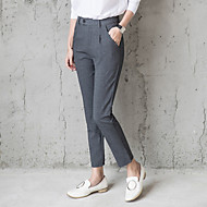 Women's Straight Business Slim Pants  Solid Mid Rise Zipper Elasticity Cotton Micro-elastic Spring Fall
