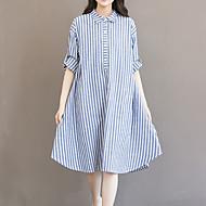 Damen Lose Kleid-Ausgehen Lässig/Alltäglich Übergröße Retro Einfach Niedlich Gestreift Hemdkragen Asymmetrisch Langarm BlauBaumwolle