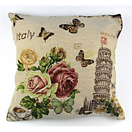 RayLineDo® Linen Cotton Square Throw Pillow Cover Pisa Tower Decorative Pillow Case CTJZ21-PC-PT