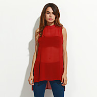Women's Going out Boho / Street chic Summer Tanks,Solid Crew Neck Sleeveless Red / Beige Polyester Thin