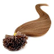 u는 못 머리 연장 팁 뜨거운 판매 7A 100 % 표피 말레이시아 처녀 머리 직선 확장 자연 스트레이트 헤어 0.5G / s의 100 단위 / 팩