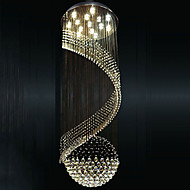 Modern Crystal Chandelier Pendant Lighting Hanging Ceiling Lamps Fixtures with LED Source Clear K9 Crystal
