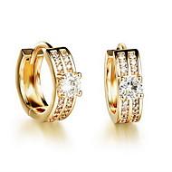 Brincos Curtos Gema Europeu Strass 18K ouro imitação de diamante Liga Dourado Jóias Para Diário Casual 1 par