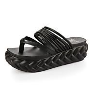 Damen-Slippers & Flip-Flops-Kleid Lässig-PU-Flacher Absatz Keilabsatz-Leuchtende Sohlen-Schwarz Rosa Weiß Silber