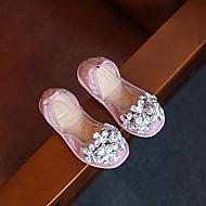 Bebê Rasos Conforto Couro Envernizado Primavera Outono Casual Caminhada Conforto Velcro Rasteiro Preto Rosa claro Rasteiro