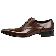 Men's Oxfords Spring Summer Fall Winter Comfort Novelty Leather Wedding Party & Evening Flat Heel Split Joint Lace-up Black Brown Walking