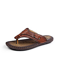 슬리퍼 플립 플롭-야외 캐쥬얼-남성-컴포트 조명 신발-가죽-플랫-브라운 다크 브라운