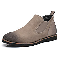 Men's Boots Spring Summer Fall Winter Comfort Suede Outdoor Office & Career Casual Party & Evening Flat Heel Split Joint Black Beige Gray