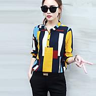 Camicia Da donna Casual Moda città Primavera Autunno,Fantasia geometrica Colletto Poliestere Giallo Manica lunga Medio spessore